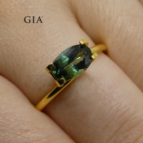 1.31ct Oval Teal Blue Sapphire GIA Certified Thailand Unheated