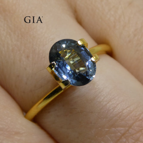 1.68ct Oval Steel Blue Sapphire GIA Certified Thailand Unheated