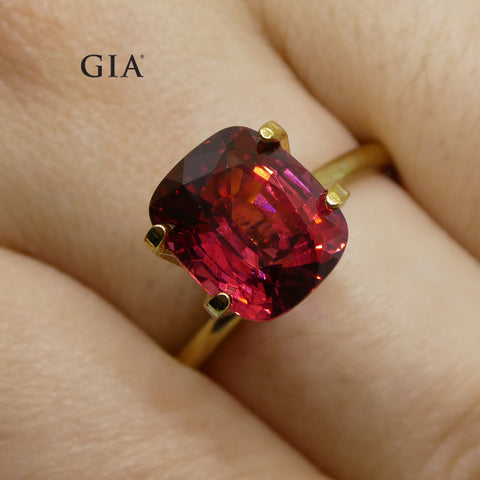 4.15ct Cushion Cut Red Spinel GIA Certified Unheated