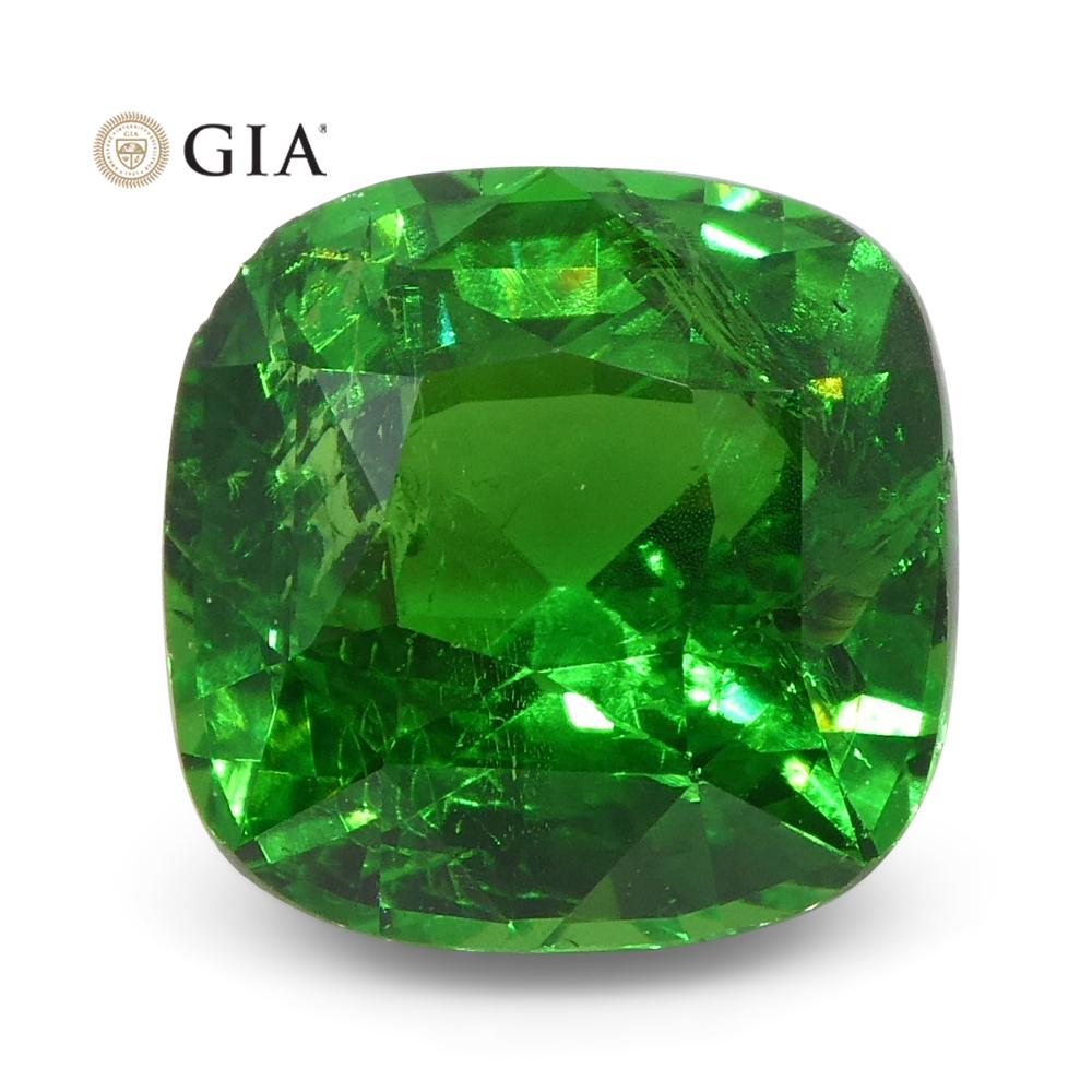 Vivid Emerald Green 2.61ct Tsavorite Garnet Cushion Cut, GIA Certificate