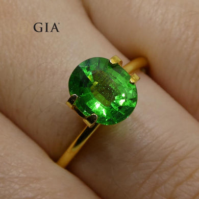 1.97ct Vivid Emerald Green Tsavorite Garnet Oval, GIA Certified - Skyjems Wholesale Gemstones