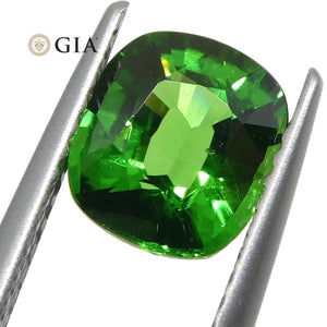 1.64ct Vivid Emerald Green Tsavorite Garnet Cushion, GIA Certified - Skyjems Wholesale Gemstones