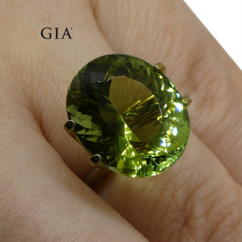 9.30ct Oval Verdelite Green Tourmaline GIA Certified