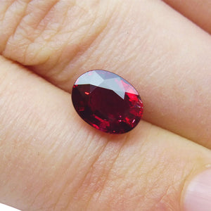 2.03ct. Oval GRS Certified Unheated Vivid Red Ruby