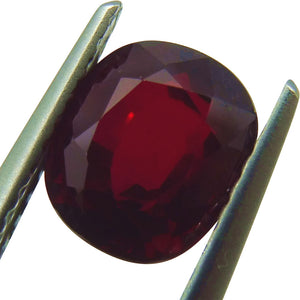 2.06ct. Cushion Cut GRS Certified Unheated Deep Red Ruby
