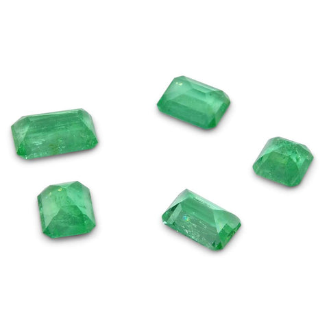 Colombian Emerald 3.38 cts 5st Emerald Cut Wholesale Lot