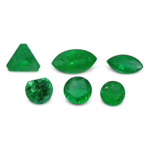 Colombian Emerald 3.13 cts 6st Round/Marquise/Trillion/Fancy WHOLESALE LOT