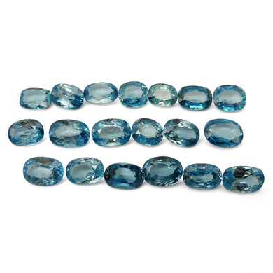 Blue Zircon 80.44 cts 19 stones Wholesale Lot