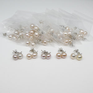 30 Pairs of Freshwater Pearl and Sterling Silver Stud Earrings Round Wholesale Lot