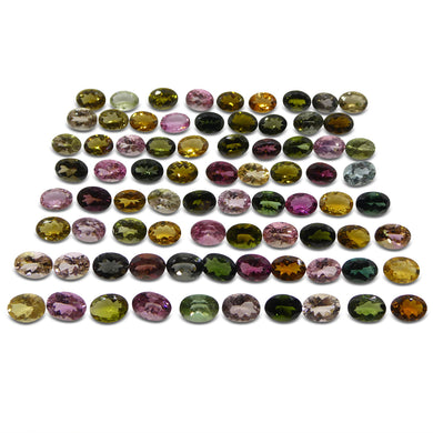 Multi Colour Tourmaline 60.8 cts 7.00x5.00x3.00mm Oval Pink / Orange / Yellow / Green / Blue  $920