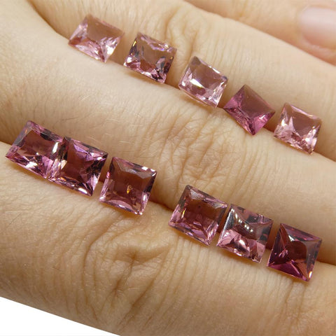 12.24 ct Pink Tourmaline Square Wholesale Lot