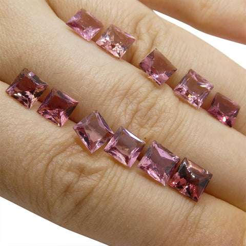 11.59 ct Pink Tourmaline Square Wholesale Lot
