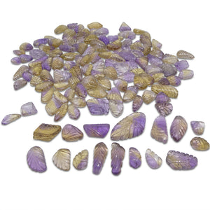 Ametrine Leaf Carvings 1001.23cts 11.63x7.97x3.56 to 35.50x19.48x8.13mm Leaf Carving Purple / Yellow $400