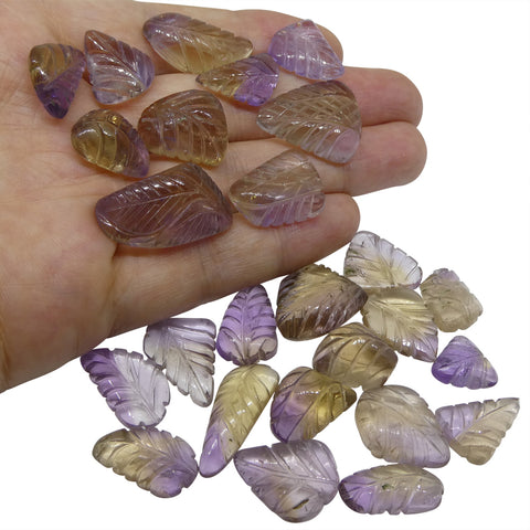 200.6ct Ametrine Leaf Carving Wholesale Lot