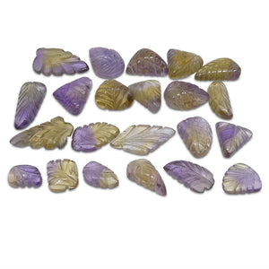 Ametrine Leaf Carvings 202.71cts 12.01x7.98x4.86 to 27.02x16.31x4.27mm Leaf Carving Purple / Yellow $130