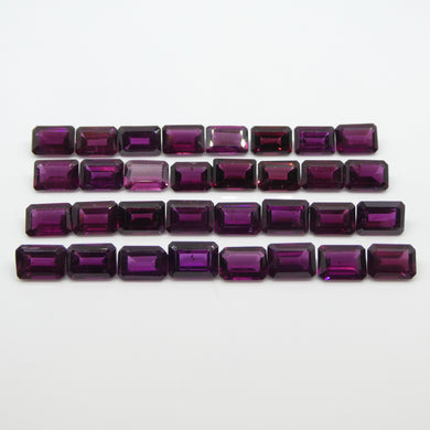 40.94ct Rhodolite Garnet Emerald Cut Wholesale Lot - Skyjems Wholesale Gemstones