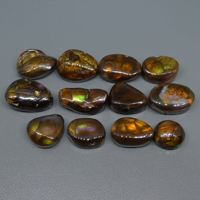 Mexican Fire Agate 91.34cts 10.54x9.47x6.16 to 16.19x11.13x6mm Freeform Reddish-brown base, with flashes of orange, red, green and gold $300