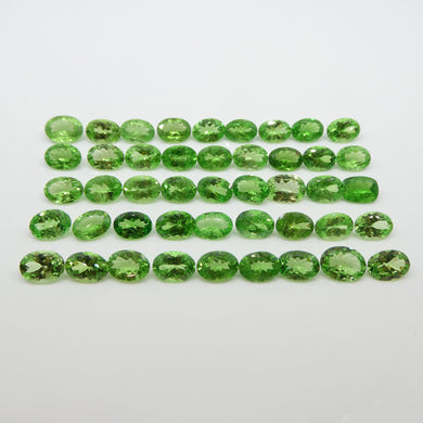 Green Grossularite / Tsavorite Garnet 36.45cts 7.00x5.00x3.00mm to 7.50x5.50x3.00mm Oval Green $2740
