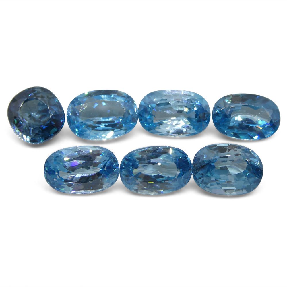 30.23ct Blue Natural Zircon Oval/Cushion Wholesale Lot