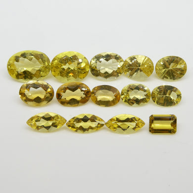 Heliodor 22.46cts 12.27x9.03x5.22mm to 7.01x4.87x2.97mm Oval/Marquise/Emerald Cut Yellow $230