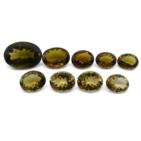 37.69ct Yellow Tourmaline Oval Wholesale Lot