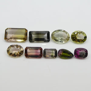 Bi-Color Mixed Tourmaline 23.82cts 14.09x8.88x4.44mm to 8.04x6.15x3.87mm Oval/Emerald Cut/Cushion/Pear Pink/Yellow/Green $1200