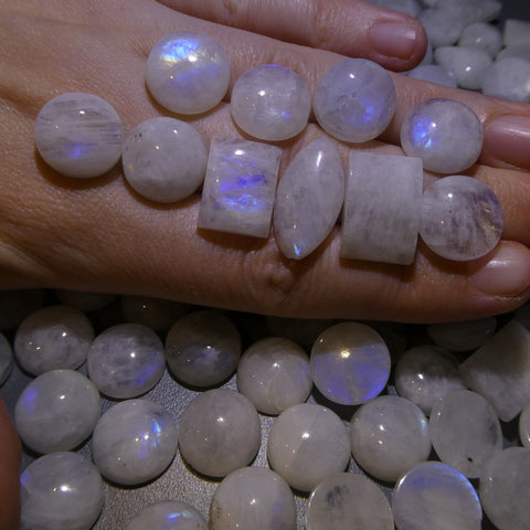 1580 ct Round/ Rectangle/Pear Rainbow Moonstone  Wholesale Lot