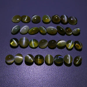 Cat's Eye Chrysoberyl 39.52cts 5.02x4.98x3.77mm to 7.57x5.81x3.73mm Oval/Round Yellow/Green $1980