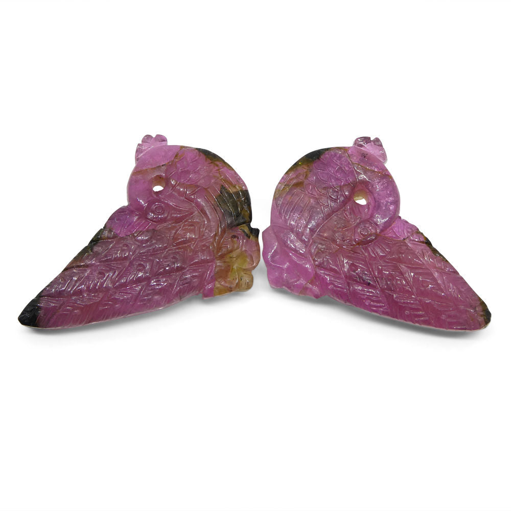 102.6 ct Peacock Carving Pink Tourmaline Matching Pair