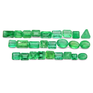13.02 ct Oval/Square/Emerald Cut/Trillion Emerald Colombian 26 Stone Wholesale Lot - Skyjems Wholesale Gemstones