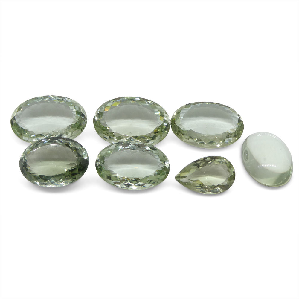 213.04 ct Oval/Pear Prasiolite Wholesale Lot (Green Amethyst)