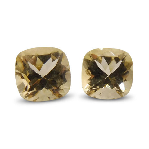 1.74 ct Pair Cushion Heliodor/Yellow Beryl