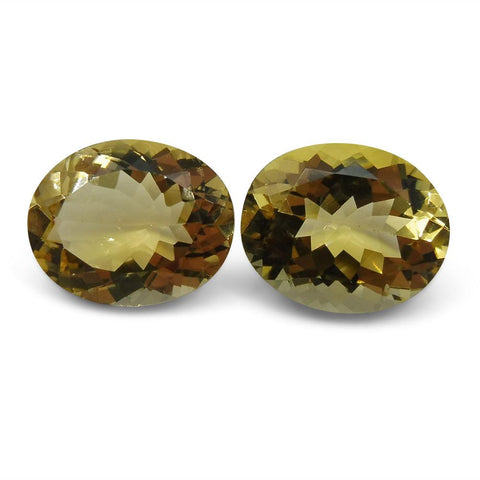 6.16 ct Pair Oval Heliodor/Golden Beryl CGL-GRS Certified