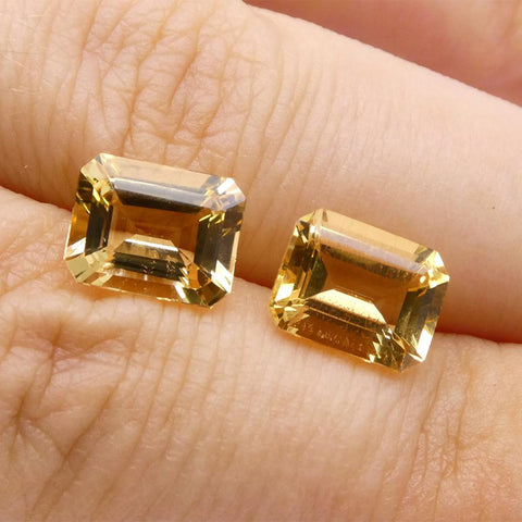 4.08 ct Pair Emerald Cut Heliodor/Golden Beryl CGL-GRS Certified