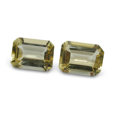 2 Stones - 1.7 ct Heliodor 7x5mm Octagon - Skyjems Wholesale Gemstones
