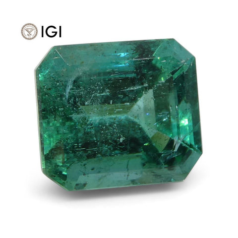 5.63 ct Emerald Cut Emerald IGI Certified Zambian with Inscription