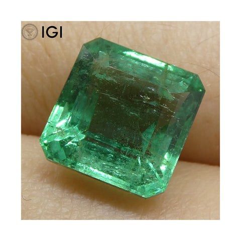 4.2 ct Square Emerald IGI Certified Zambian with Inscription