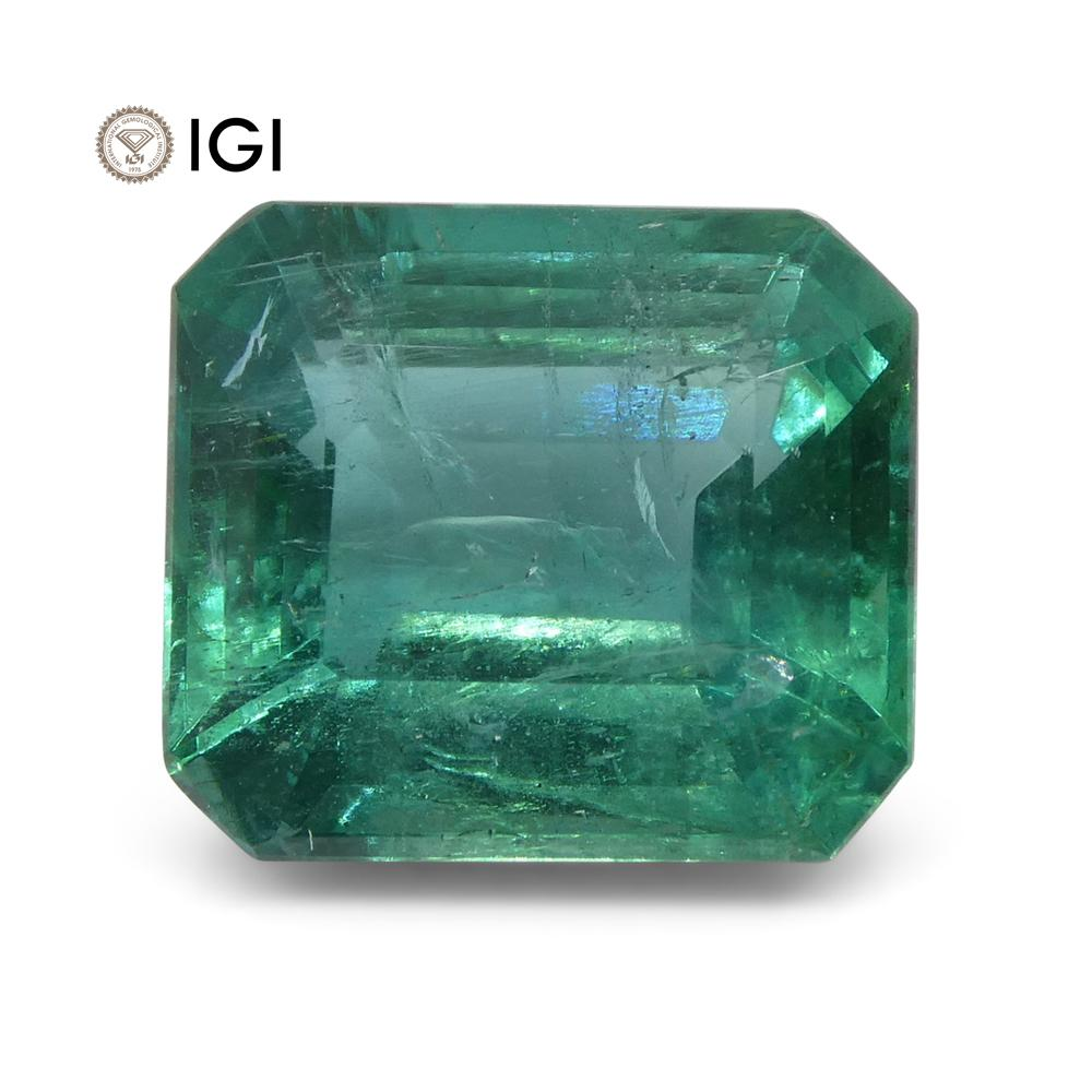 6.04 ct Emerald Cut Emerald IGI Certified Zambian with Inscription