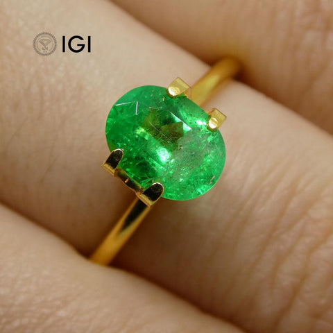 1.33 ct Oval Emerald IGI Certified Colombian with Inscription