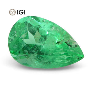 1.09 ct Pear Emerald IGI Certified Colombian with Inscription - Skyjems Wholesale Gemstones