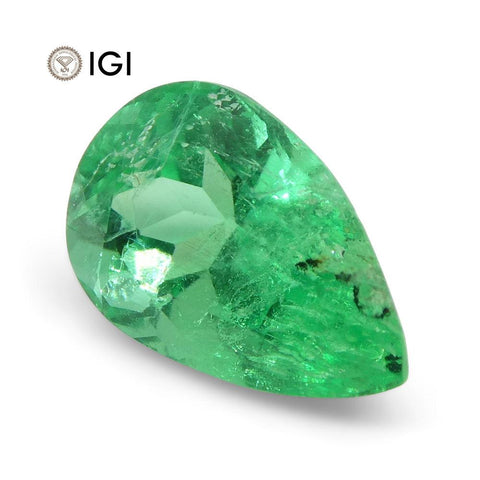 1.09 ct Pear Emerald IGI Certified Colombian with Inscription