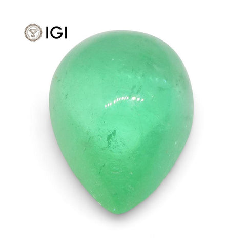 1.58 ct Pear Cabochon Emerald IGI Certified Colombian