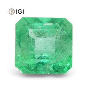 1.25 ct Square Emerald IGI Certified Colombian with Inscription - Skyjems Wholesale Gemstones
