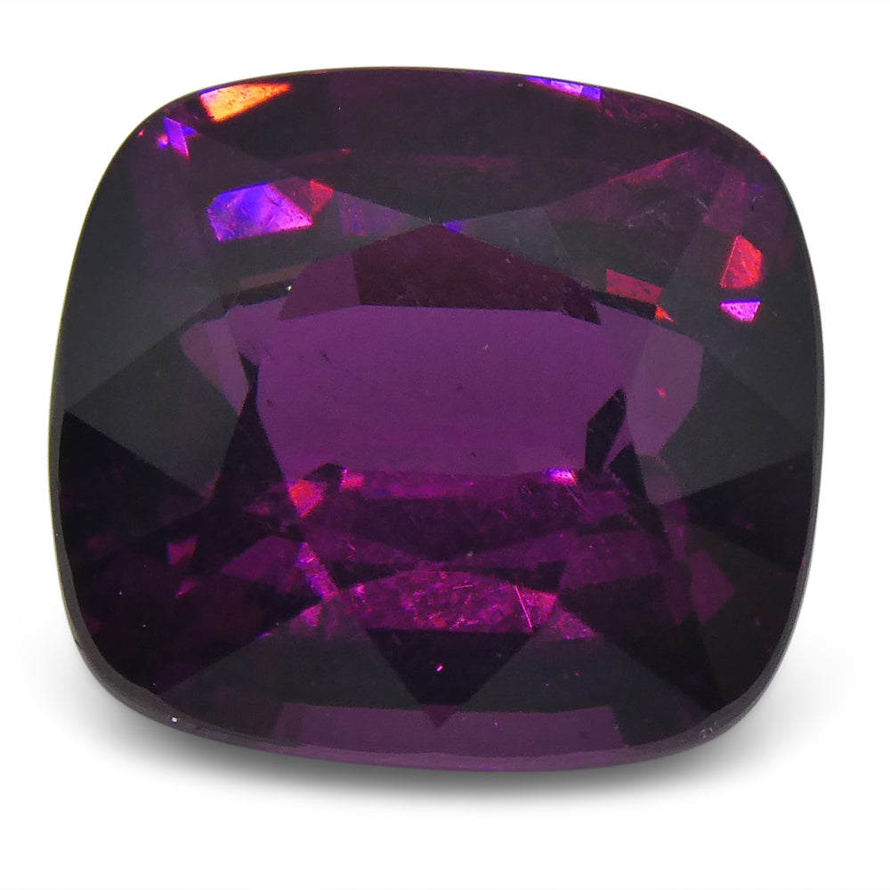 3.19 ct Rhodolite Garnet Cushion IGI Certified