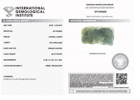 60.10 ct Jadeite Drilled Carving IGI Certified