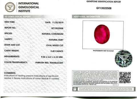 2.4 ct Oval Ruby IGI Certified