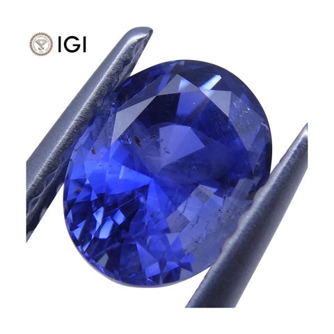 1.47 ct Oval Blue Sapphire IGI Certified Unheated