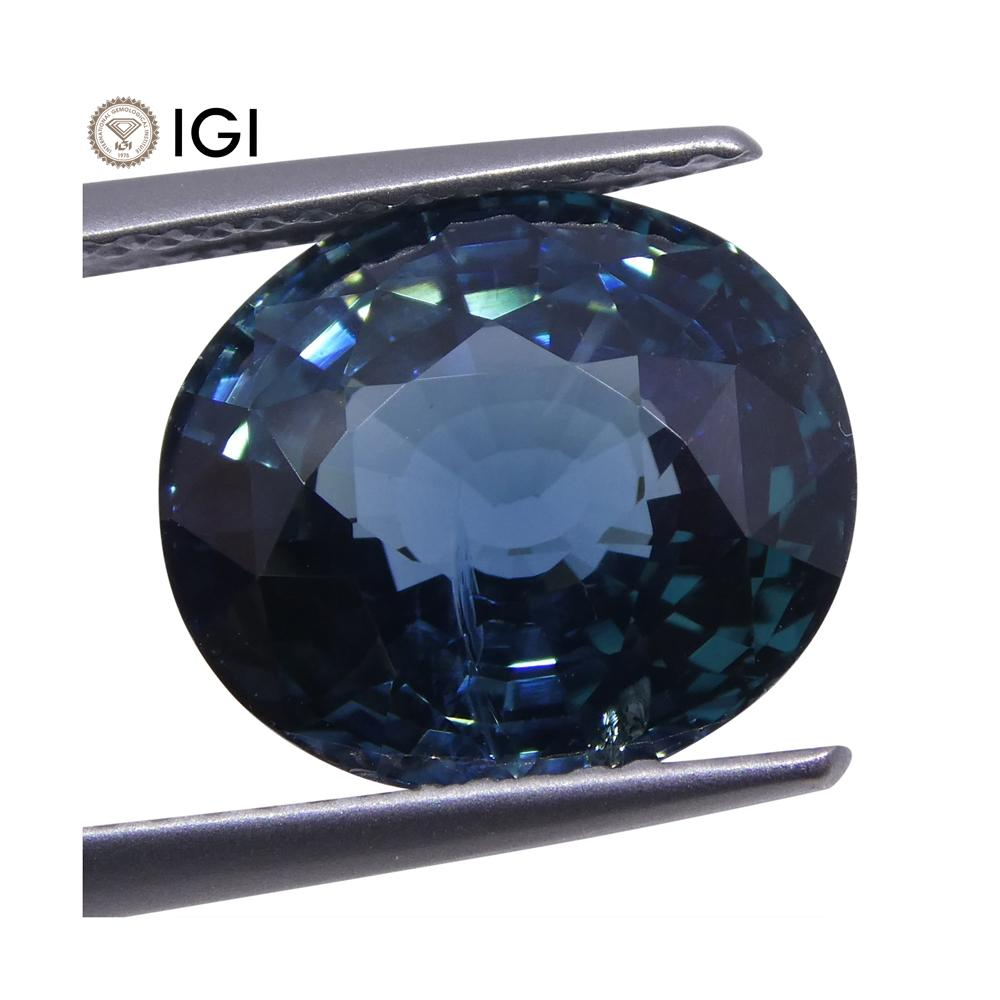 6.84ct Oval Teal Blue Unheated Sapphire IGI Certified Ethiopian