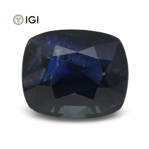 8.96 ct Blue Sapphire Cushion IGI Certified Ethiopian, Unheated
