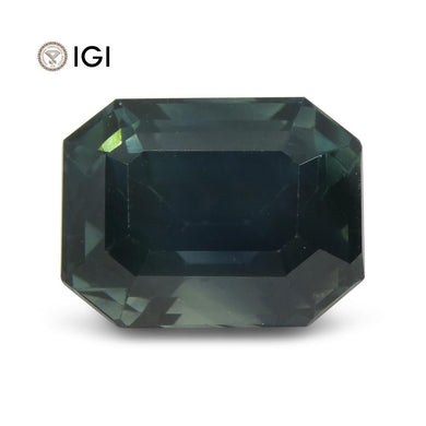 8.32ct Teal Sapphire, Emerald Cut IGI Certified Ethiopian, Unheated - Skyjems Wholesale Gemstones